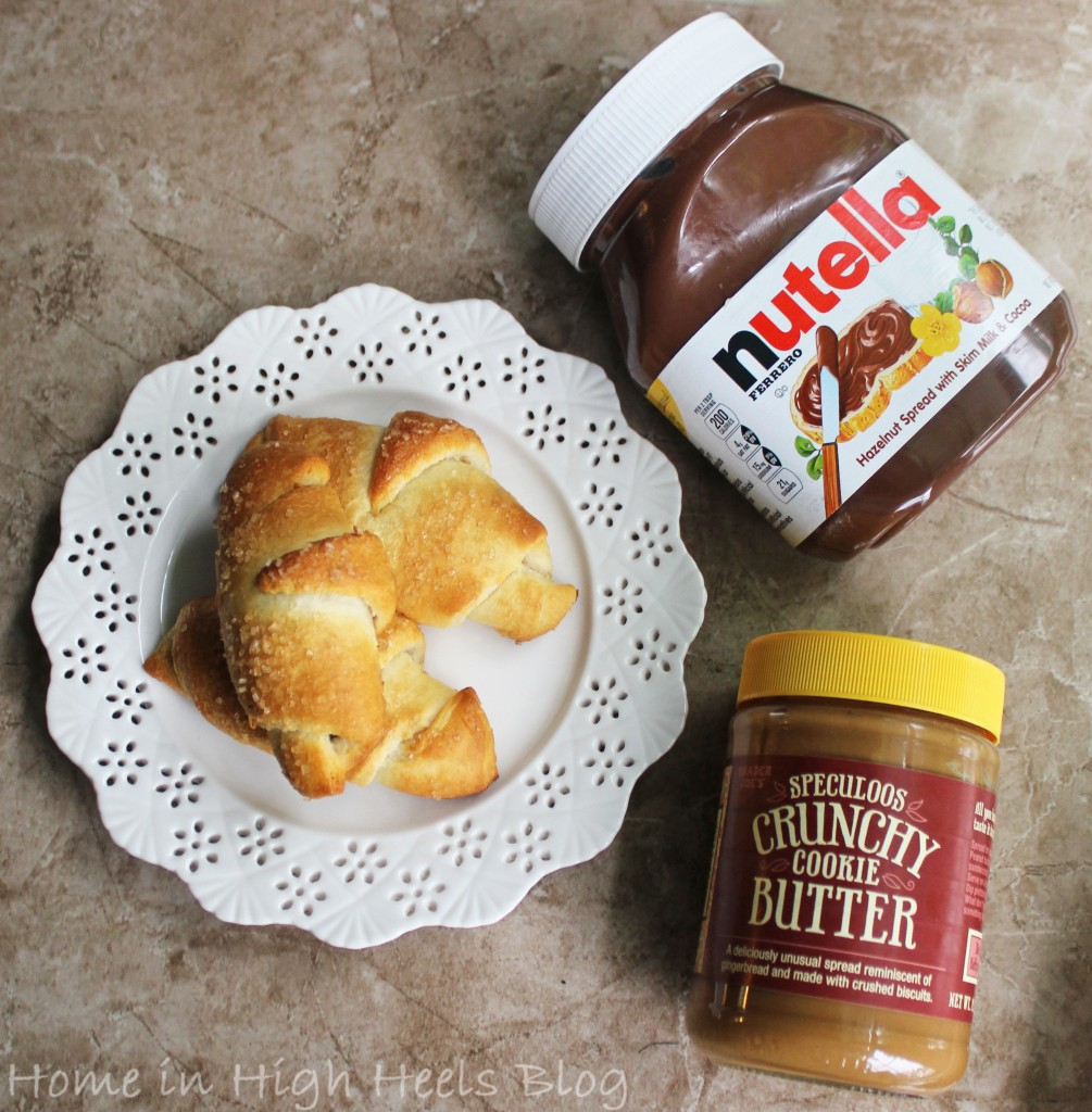 Delish crescent rolls with gooey Nutella & Trader Joe's Speculoos Cookie Butter inside! The perfect sweet treat! Perfect for a sweet tooth, brunch, or dessert! from Home in High Heels Blog
