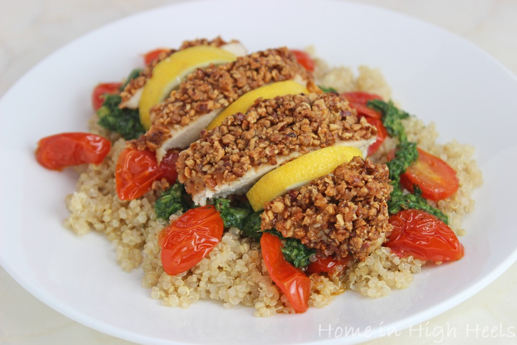 Almond-Crusted Chicken Breasts with Pesto, Roasted Tomatoes, & Quinoa Recipe from Martha Stewart Living & Home in High Heels