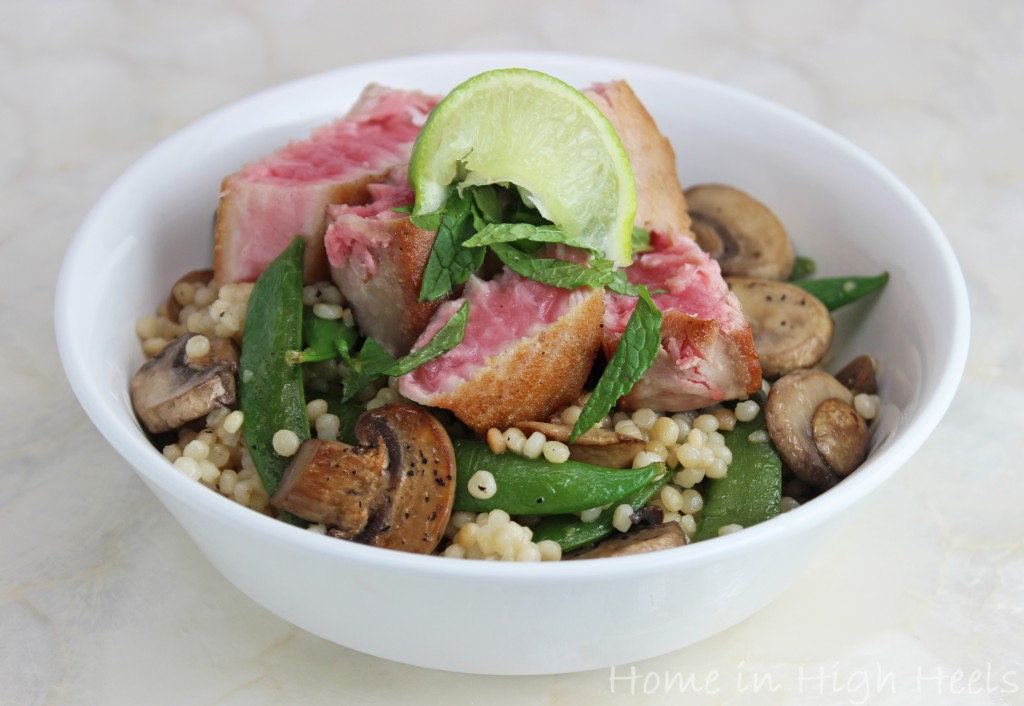 Seared Ahi Tuna with Mushrooms, Peas, & Couscous Recipe- a healthy recipe with fresh mint & lime inspired by the editors of Martha Stewart Living on Home in High Heels