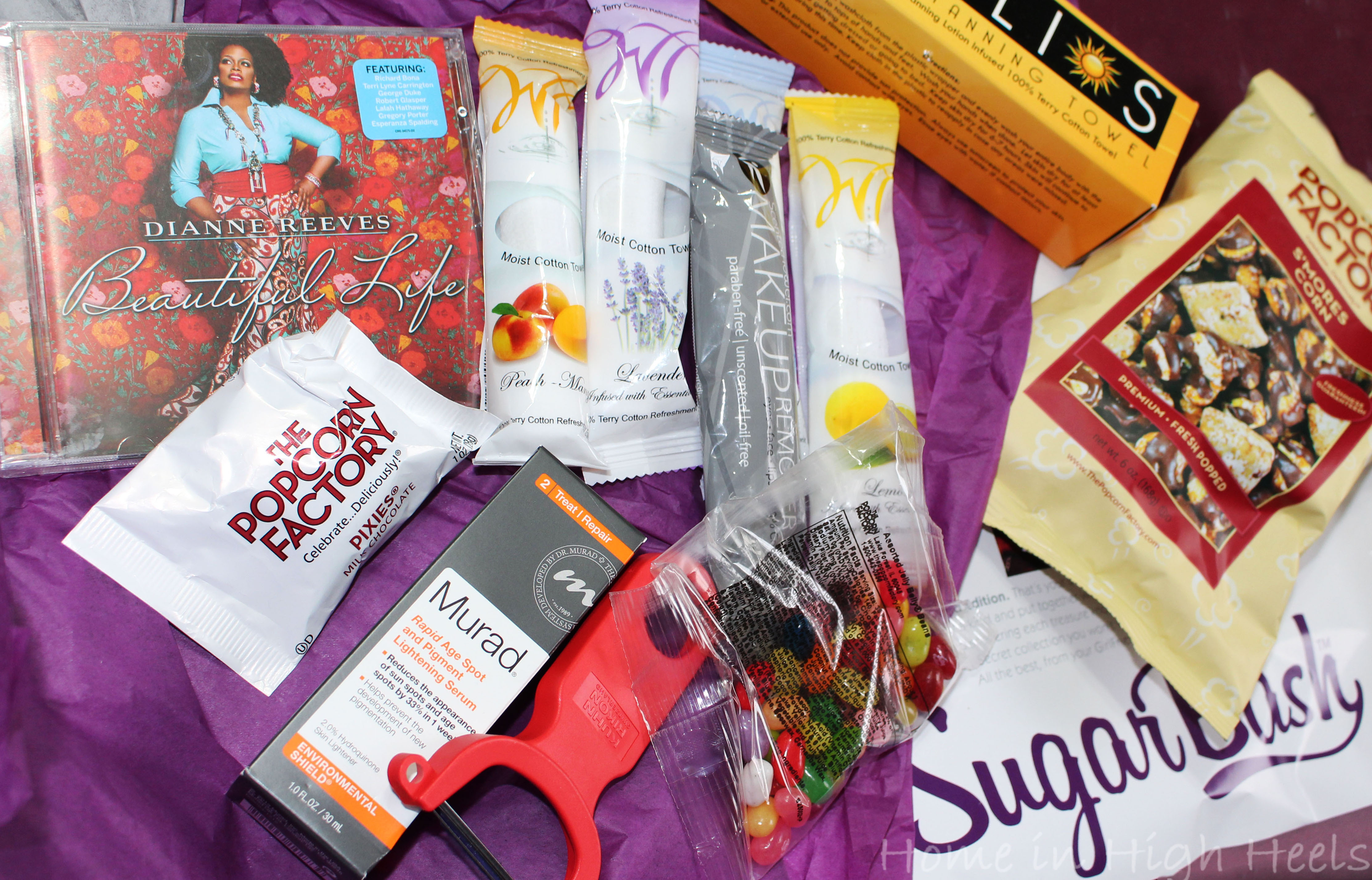 Sugar Bash- The New Must-Have Subscription Box featuring full-sized products from brands like Murad, Rocky Mountain Chocolate, Helios, & more! on Home in High Heels
