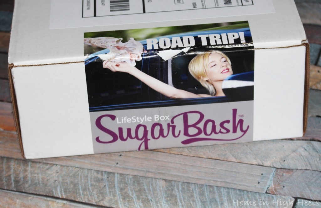 SugarBash Lifestyle Subscription Review- This Month is Road Trip! Want a subscription filled with items ranging in categories instead of the usual sample packets? This might be your perfect sub box! See it all on Home in High Heels