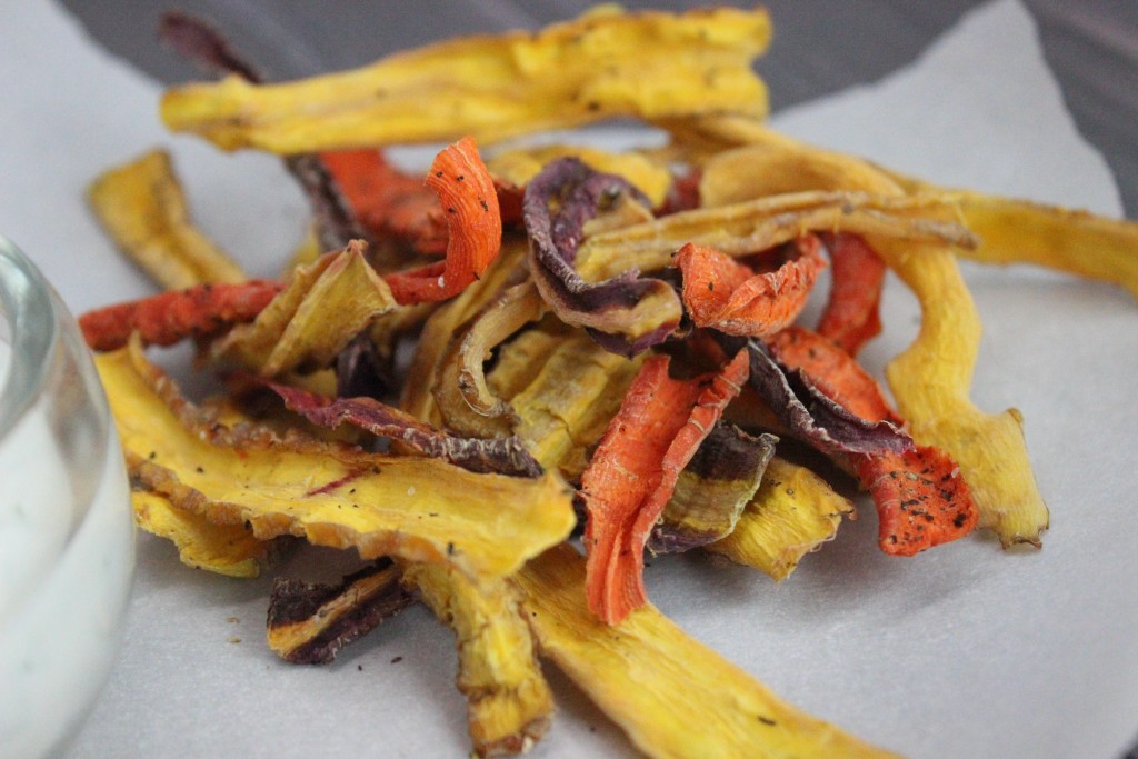 DIY Ranch Rainbow Dehydrated Carrot Chips Recipe on Home in High Heels