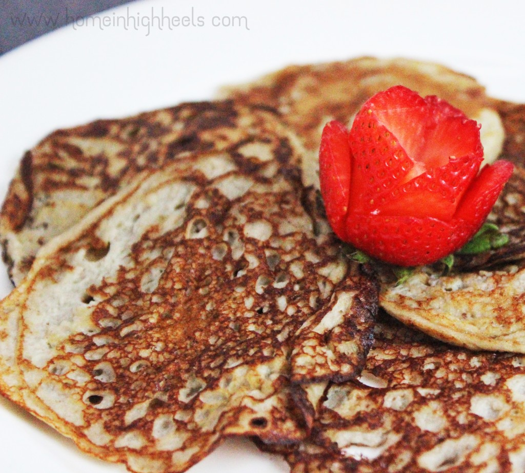 The easiest healthy pancake recipe ever! These 2 ingredient banana pancakes are flourless, fluten-free, vegetarian, & full of healthy benefits! Check out the skinny recipe & lots more lifestyle posts on Home in High Heels | www.homeinhighheels.com