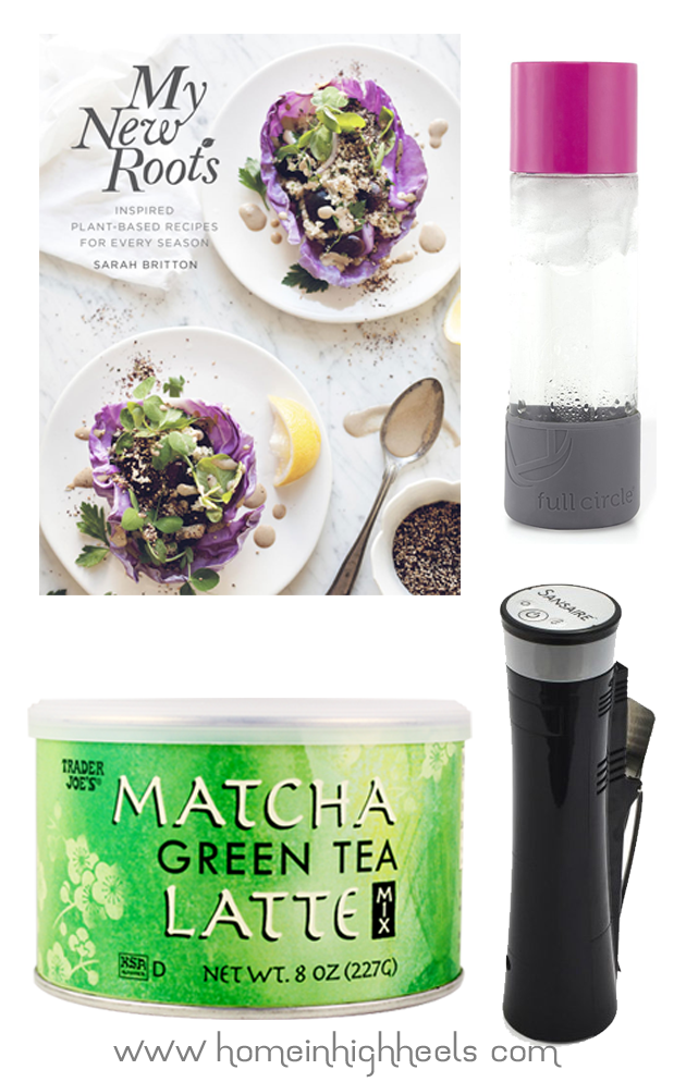 Favorite Food & Drink Items including a healthy cookbook, Matcha Green Tea Latte, my favorite glass water bottle, & the Sansaire Sous Vide on Home in High Heels | www.homeinhighheels.com
