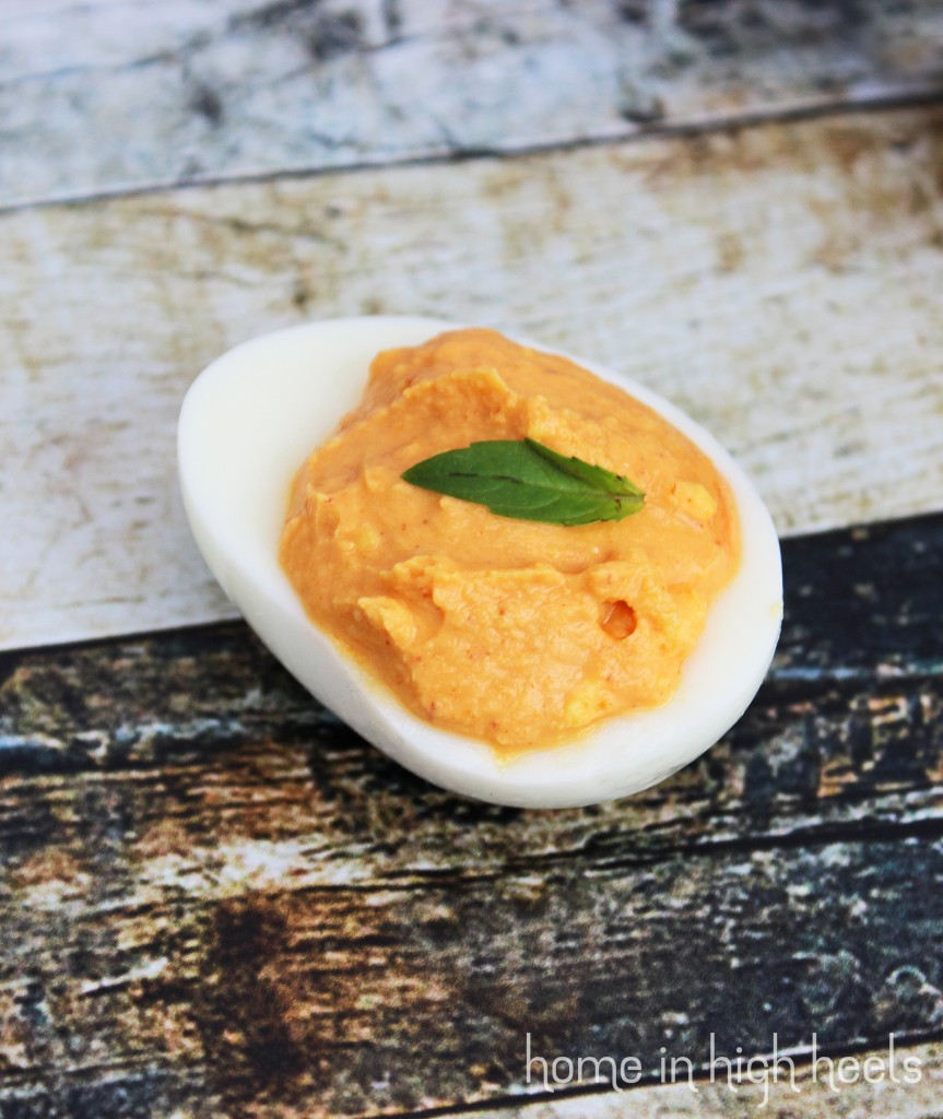 Thai Basil Sriracha Deviled Eggs Recipe on Home in High Heels | www.homeinhighheels.com