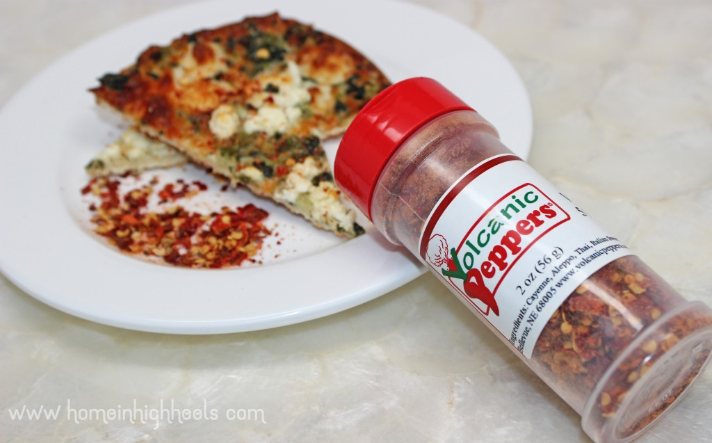 Hot & Spicy Volcanic Peppers Volcano Dust 5 Pepper Flakes Seasoning aka the BEST spicy pizza seasoning ever! on Home in High Heels | www.homeinhighheels.com