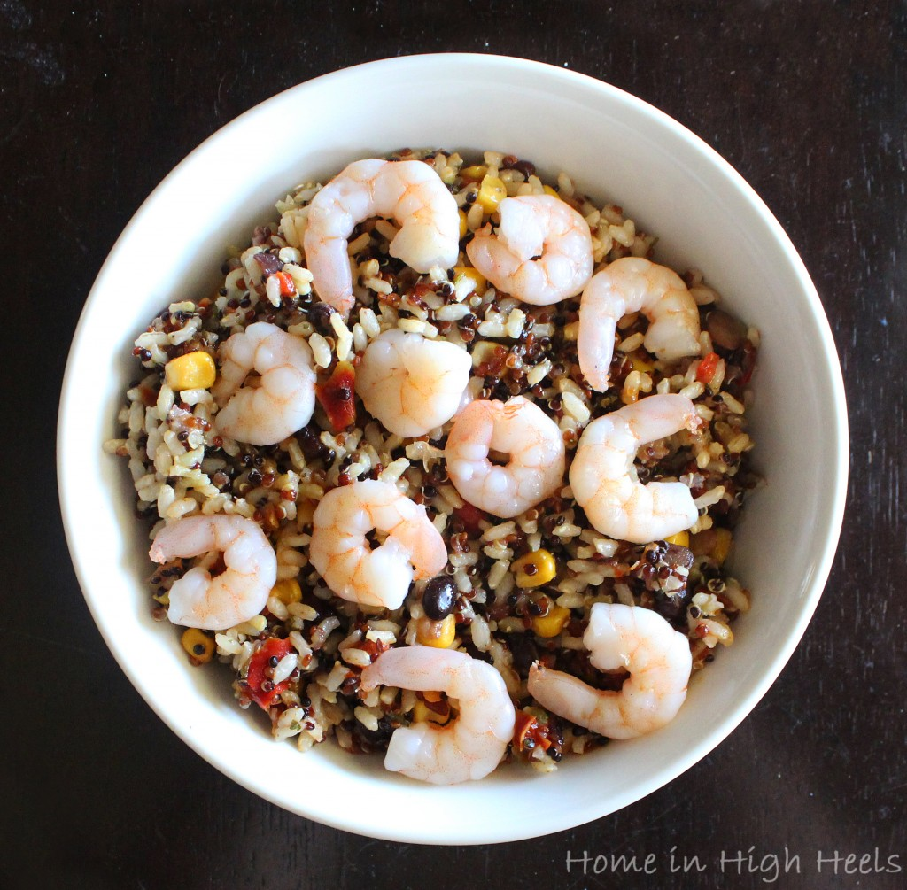 My recipe for Southwest Lemon Chipotle Shrimp Grain Salad for Lunch on Home in High Heels | www.homeinhighheels.com