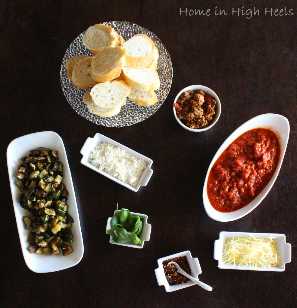 DIY Crostini Pizza Bar for an Easy Family Meal + some of my favorite topping ideas!  Find out more including more dinner ideas & recipes on Home in High Heels | www.homeinhighheels.com