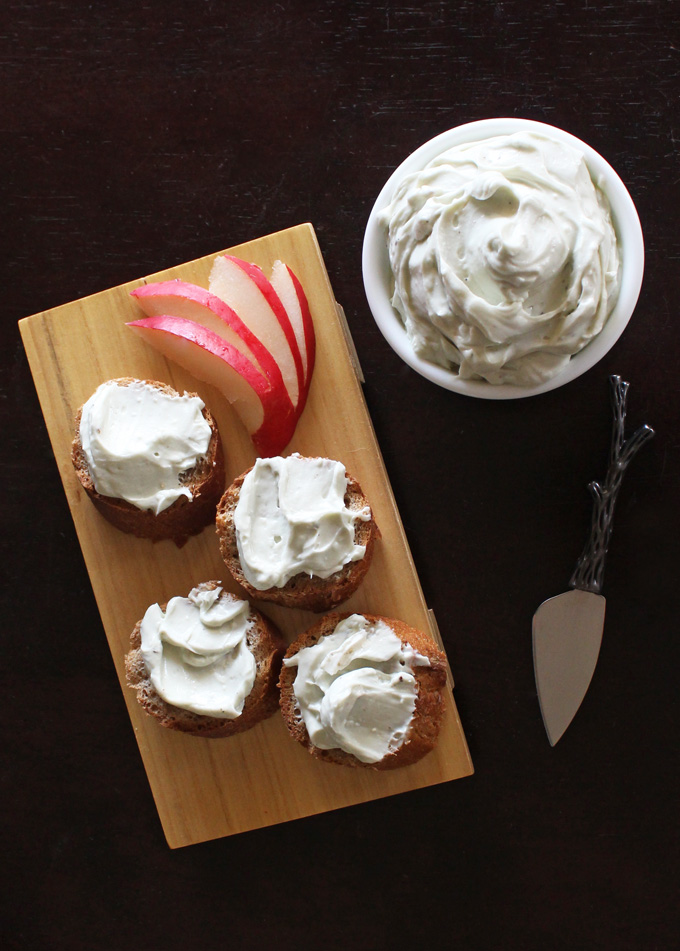 If you love blue cheese then this Creamy Whipped Bleu Cheese recipe will be your perfect match! Cheesy, luxurious, & a great topper, dip, or even sauce! Pair it with some balsalmic vinegar reduction & pears for the perfect crostini! Yum! Check out more recipes on Home in High Heels