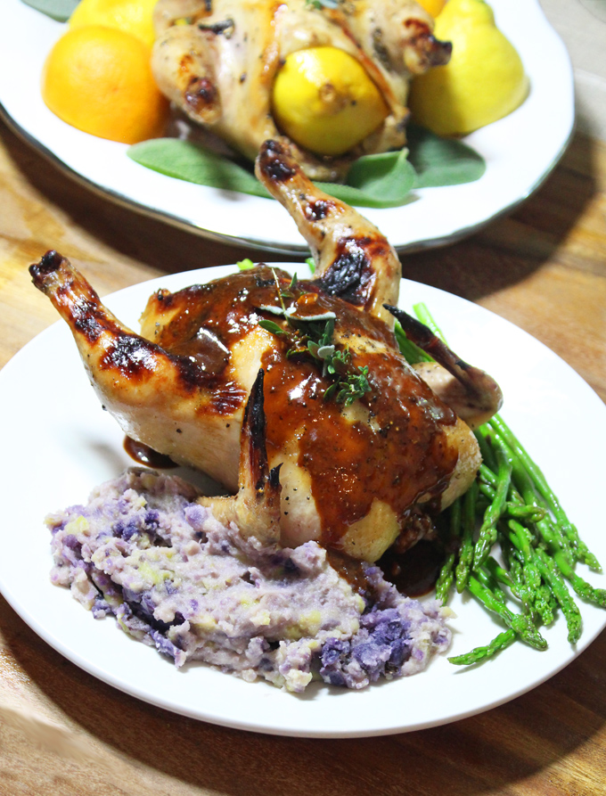 Citrus Honey Sage Glazed Cornish Hens Recipe & Demo- create your own glaze & chow down on a recipe that looks more gourmet than it is to prepare! They're impressive & a bit different . & perfect to wow your guests! Read more on Home in High Heels