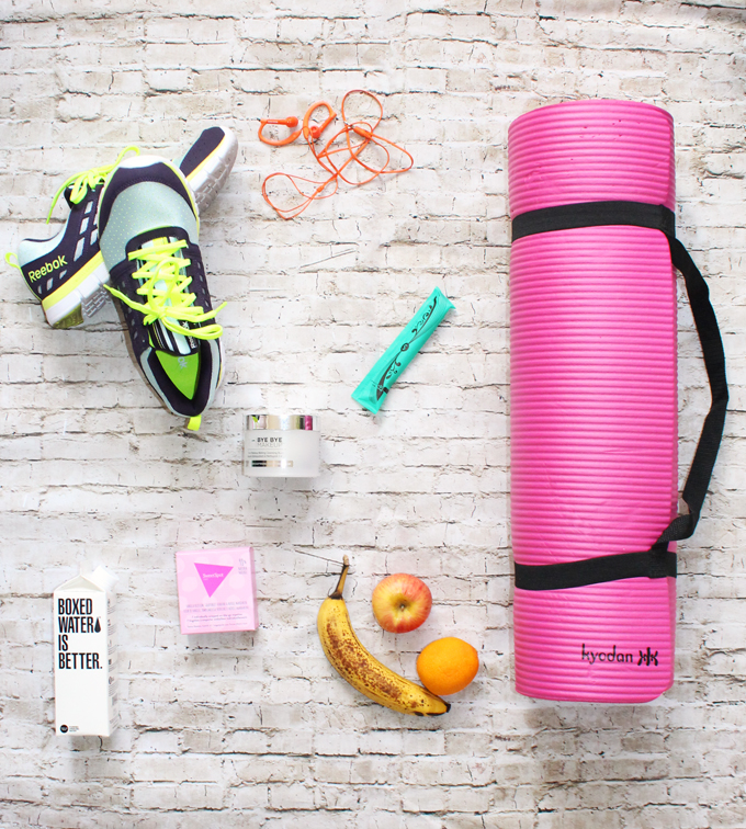 Quick Gym Bag Essentials- some of my absolute favorites I always keep in my bag! What are your must-haves for workouts? See more health, style, & recipe posts on Home in High Heels