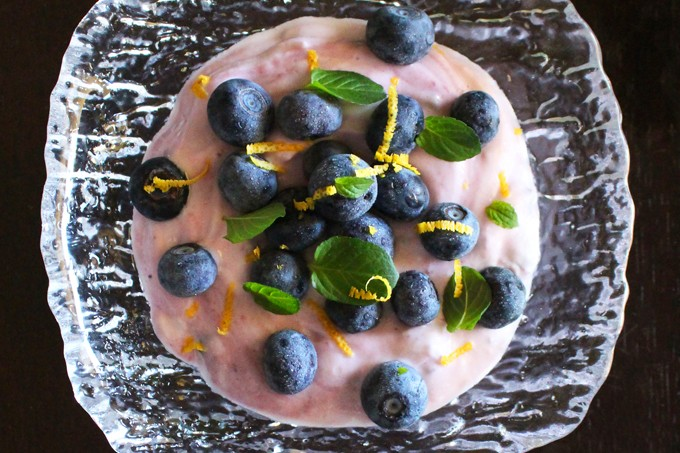 Refreshing Blueberry, Mint, & Lemon Greek Yogurt Bowl. Check out more easy, healthy breakfast recipes (& other meals!) on Home in High Heels