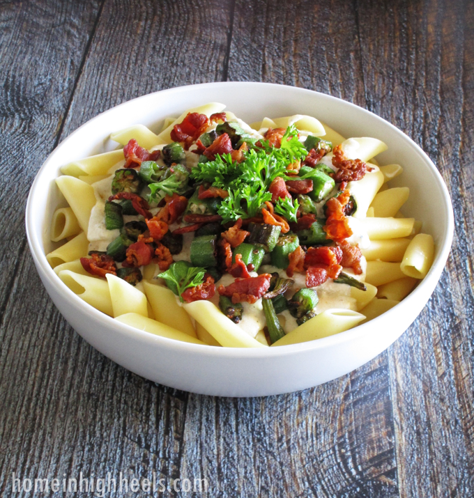 A dreamy, creamy stovetop Bacon Okra Swiss Mac & Cheese Recipe. Check out more recipes, lifestyle, & travel posts on Home in High Heels