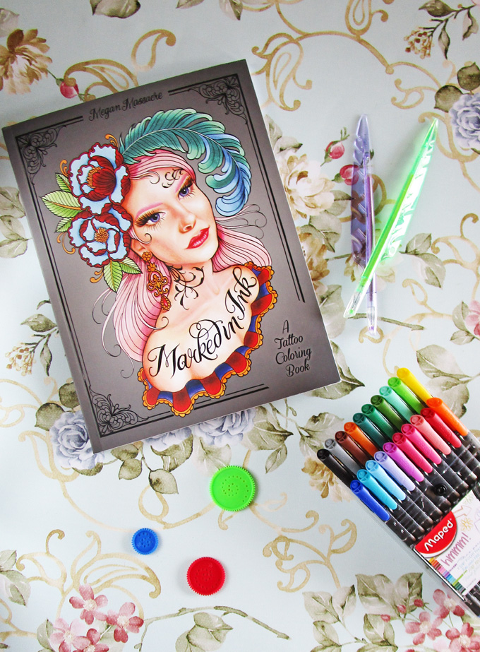 A peek into Marked in Ink- the ultimate cool coloring book designed by tattoo artist Megan Massacre on Home in High Heels