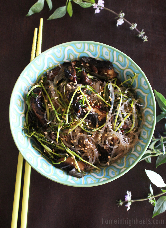 An easy to create recipe for these lovely Asian Sesame Garlic Noodles with Greens on Home in High Heels
