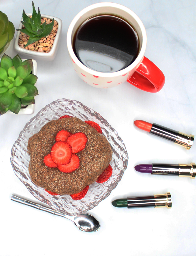 Chocolate Chia Pudding with Strawberries- a gluten free, dairy free, keto, low carb, high fiber recipe! See more lifestyle, recipes, & fun on Home in High Heels