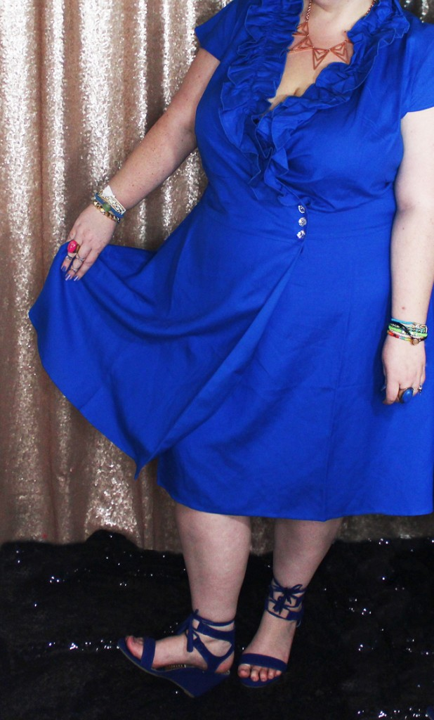 Blue Ruffle V-Neck Vintage Cobalt Blue Dress Styling Dresses for Spring with Ashley Stewart- Curvy fashion, shoes, & some extras! See more lifestyle, recipes, & style on Home in High Heels