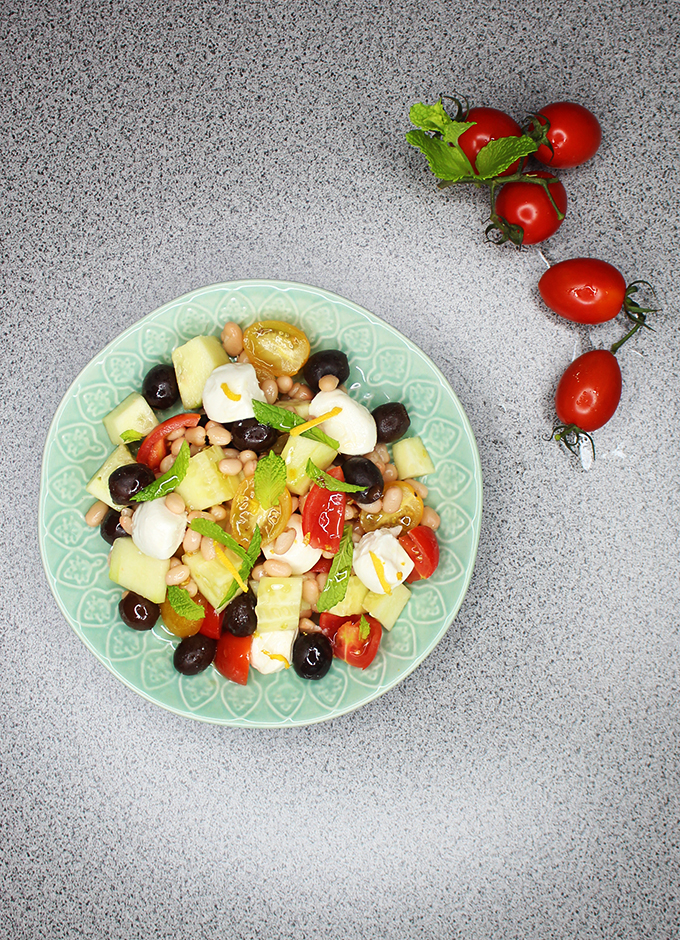 Summer salad recipe packed with protein! Vegetarian, easily vegan, & fresh! Perfect for BBQ or picnics on a budget to feed a crowd on Home in High Heels