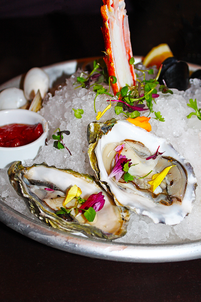 Floral Oysters The Seafood Platter- perfect for pescetarians who want a nice appetizer or entree option In Downtown Las Vegas, see the Glegan Menu (Gluten-Free & Vegan) at Triple George Grill with a bonus pescetarian option on Home in High Heels