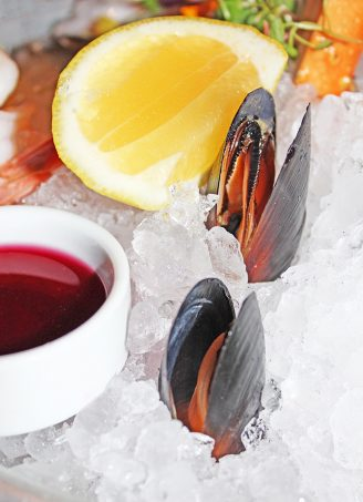 Fresh Mussels The Seafood Platter- perfect for pescetarians who want a nice appetizer or entree option In Downtown Las Vegas, see the Glegan Menu (Gluten-Free & Vegan) at Triple George Grill with a bonus pescetarian option on Home in High Heels