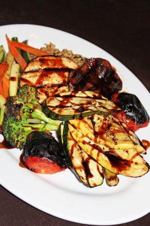 Fresh Grilled Vegetable Plate zucchini / eggplant / asparagus / mushrooms / broccoli In Downtown Las Vegas, see the Glegan Menu (Gluten-Free & Vegan) at Triple George Grill with a bonus pescetarian option on Home in High Heels