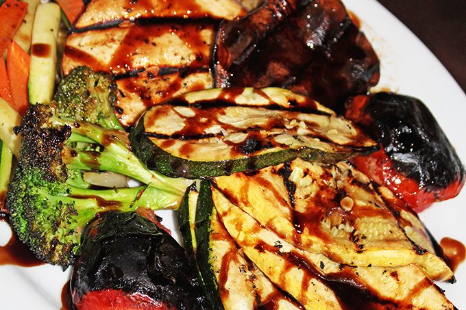 Fresh Grilled Vegetable Plate zucchini / eggplant / asparagus / mushrooms / broccoli In Downtown Las Vegas, see the Glegan Menu (Gluten-Free & Vegan) at Triple George Grill with a bonus pescetarian option on Home in High Heels