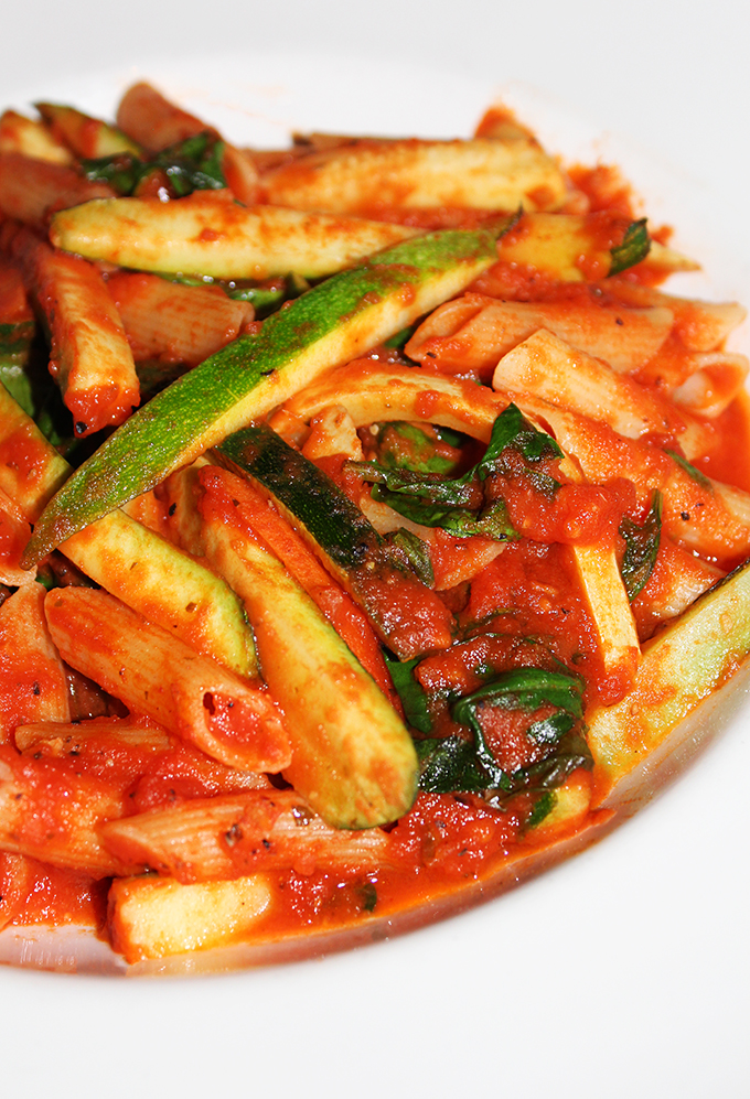 Penne Primavera with zucchini, squash, red peppers, spinach and tomato sauce In Downtown Las Vegas, see the Glegan Menu (Gluten-Free & Vegan) at Triple George Grill with a bonus pescetarian option on Home in High Heels