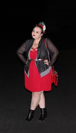 Strappy red dress with red bralette, Bacino Design striped black & white cardigan sweater, chunky studded boots, & read leather studded bag curvy OOTD Black, White, Red, & French! Oh La La Bistro Restaurant Recap in Las Vegas with Christmas in Paris Little Red Dress Curvy OOTD on Home in High Heels