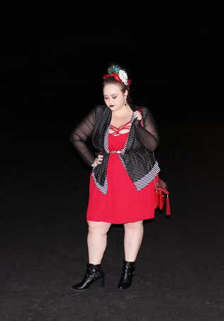 Strappy red dress with red bralette, Bacino Designstriped black & white cardigan sweater, chunky studded boots, & read leather studded bag curvy OOTD Black, White, Red, & French! Oh La La Bistro Restaurant Recap in Las Vegas with Christmas in Paris Little Red Dress Curvy OOTD on Home in High Heels