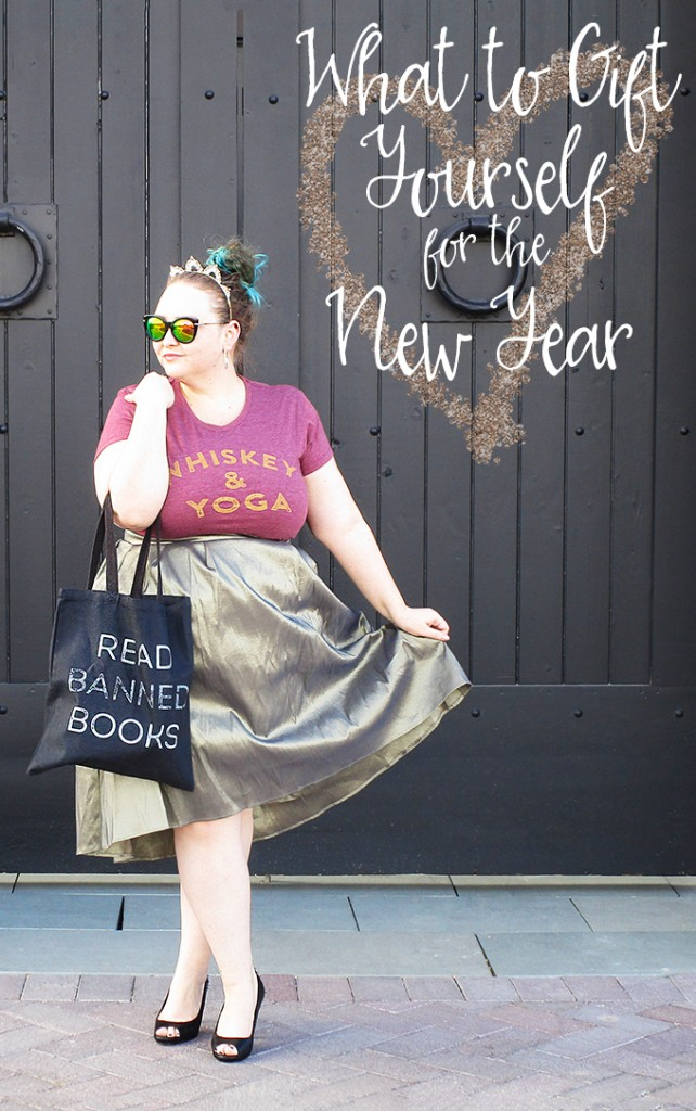 What to Gift Yourself in the New Year Whiskey & Yoga + Read Banned Books Curvy OOTD with Mirrored Sunglasses Gather up your gift cards, your wishlists, & your extra holiday cash & check out what I'm recommending you pick up for an awesome new year including speakers, mugs, whiskey, yoga, & accessories on Home in High Heels