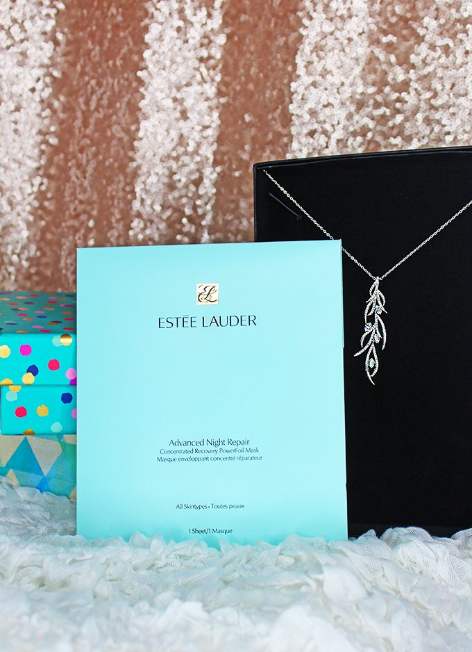 Estee Lauder Advanced Night Repair Foil Mask + Eliot Danori Necklace = Silver Metallic Gifting Duo 5 Ideas for Perfect Gifting Duos for Her - unique gift ideas that match a face mask with a corresponding gift for a unique twist on Home in High Heels