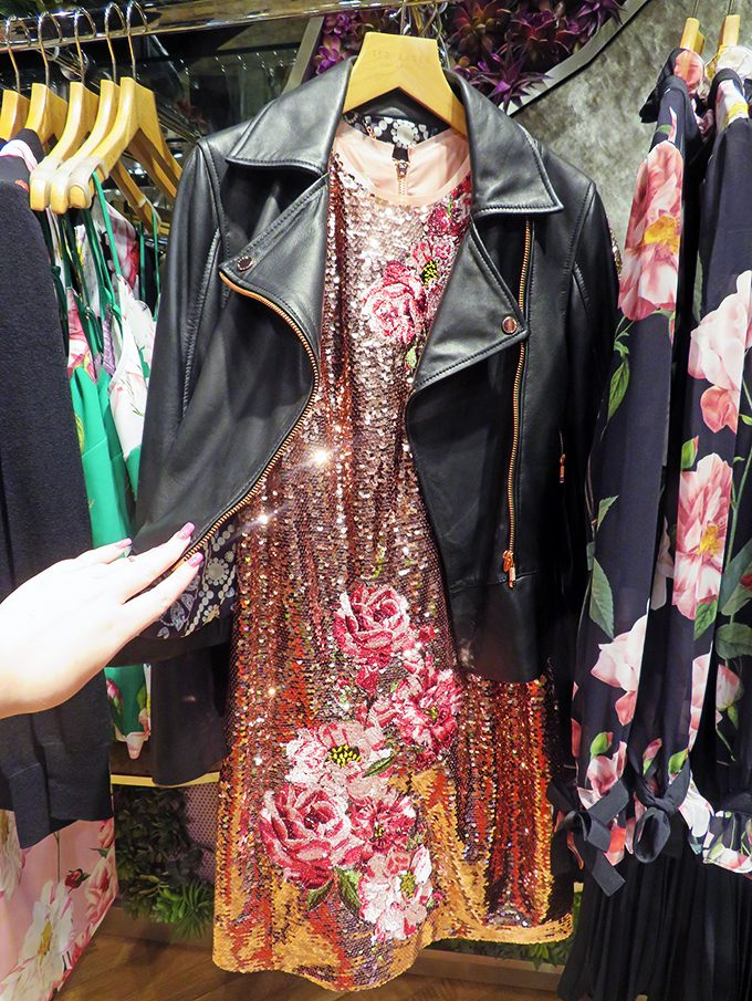 Ted Baker Leather Jacket Edgy Fashion A look at all the top fall / autumn trends at the Forum Shops Las Vegas including a look at the must-haves to order for lunch at Sushi Roku at Home in High Heels
