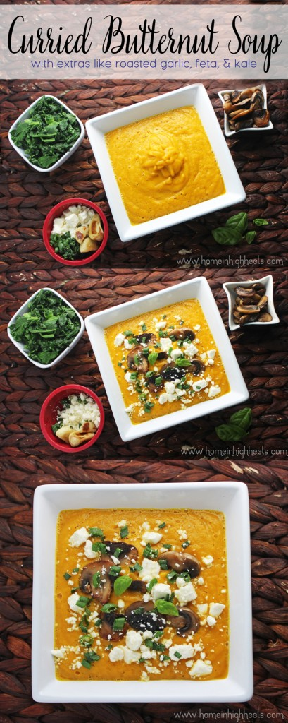 Curried Butternut Soup Recipe from Home in High Heels 10 Delicious Butternut Recipes to Ring in Autumn! Options like gluten-free, vegan, & low carb too in order to fully enjoy this fall squash on Home in High Heels