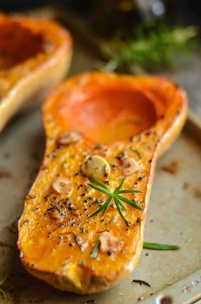 Rosemary Roasted Butternut Squash  10 Delicious Butternut Recipes to Ring in Autumn! Options like gluten-free, vegan, & low carb too in order to fully enjoy this fall squash on Home in High Heels