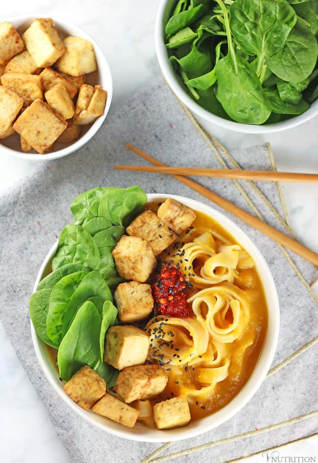 Asian-Inspired Butternut Squash Noodle Bowl with Tofu 10 Delicious Butternut Recipes to Ring in Autumn! Options like gluten-free, vegan, & low carb too in order to fully enjoy this fall squash on Home in High Heels