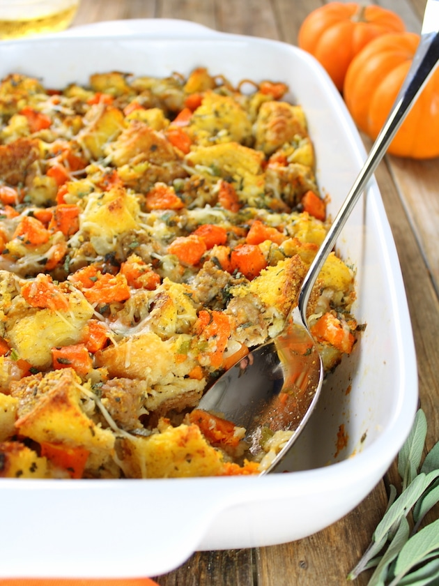 Baked Butternut Squash with Italian Sausage Stuffing  10 Delicious Butternut Recipes to Ring in Autumn! Options like gluten-free, vegan, & low carb too in order to fully enjoy this fall squash on Home in High Heels