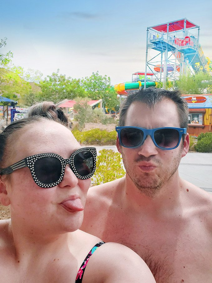 Day date with Ryan at Wet'n'Wild Las Vegas waterpark + #justwearthesuit on Home in High Heels
