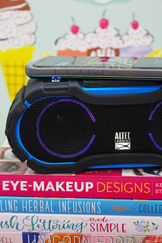 A real life review of the Altec Lansing BoomJacket Jolt Portable Bluetooth Speaker from a mom who constantly has a low battery on her phone on Home in High Heels