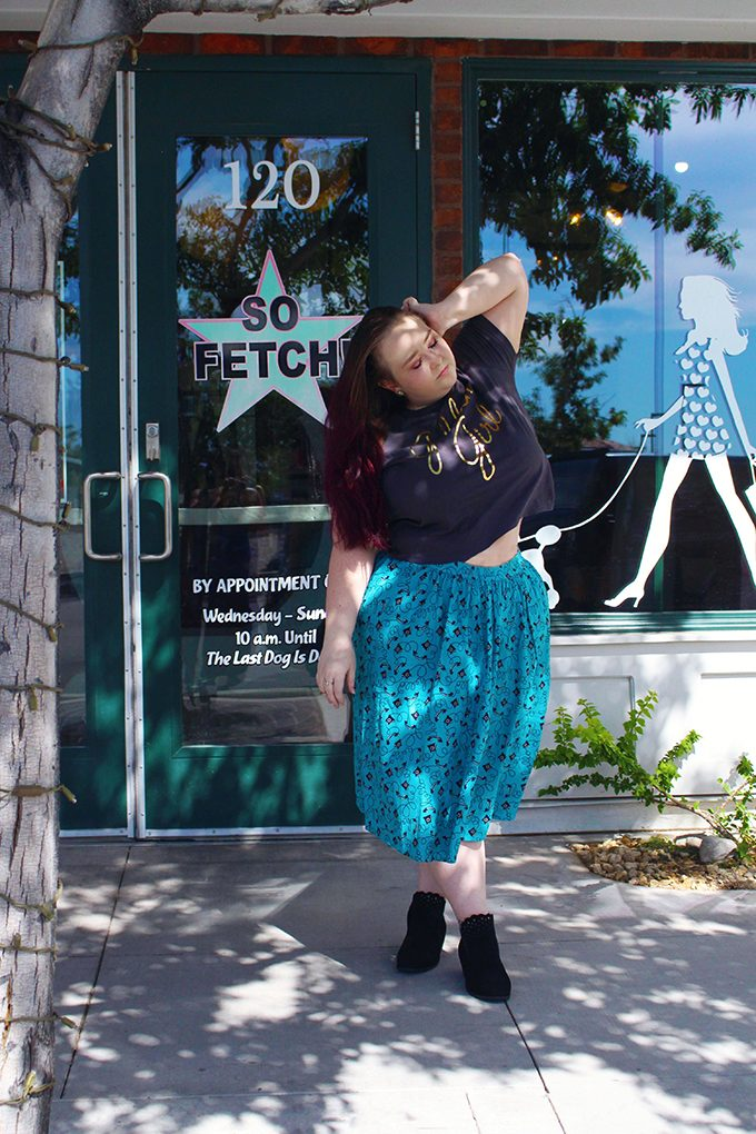 Plus/Curvy look into Joanie Clothing vintage picks with a Golden Girls Crop, Telephone Skirt, & Gold Starry Night Dress along with Zella ankle boots from Me Too on Home in High Heels